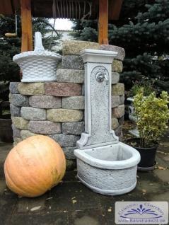 Wandbrunnen Kreta hellgrau patiniert als Wasserzapfstellen Gartenbrunnen 94cm 50kg