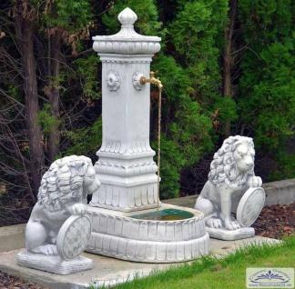 S323 Preußischer Marktbrunnen als Garten Wasserzapfstelle Standbrunnen Säulenbrunnen 152cm 297kg Beton Steinguss Brunnen