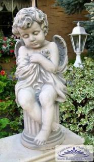 BAD-4101 Gartenfigur Engel auf Säule Gartendekoration Engelfigur massive Beton Steinguss Figur 57cm 27kg