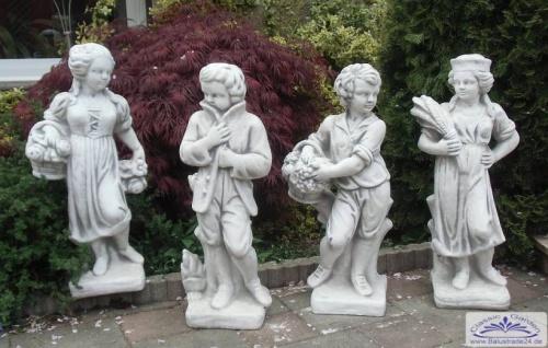 Skulpturensammlung Vierjahreszeiten II je 75cm 40kg hellgrau Skulpturen Steinfiguren als Beton Steinguss Figuren