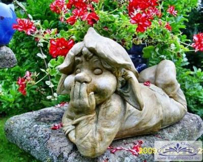 SA-N1514 Gartenfigur Wichtel Zwerg Kobold Gartenzwerg liegend 40cm 15kg