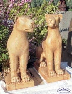 BAD-KP0313 Panther Raubtier Katzen Figuren als Torlöwen oder außergewöhnliche Gartendeko Skulpturen Beton Steinguss Figuren