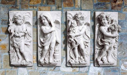 IP-795 Wandrelief Set mit 4 Stück Wandbilder aus Vierjahreszeiten Wandplatten Steinrelief mit Engel je 74cm 32kg