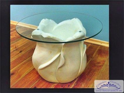 SK-6021 Glastisch mit Tulpen Blume als Säule Tisch mit runder Glasplatte