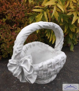 FI-B18 Pflanzkorb mit Schleife Pflanzgefäß Blumenkorb als Henkelkorb 43cm 25kg