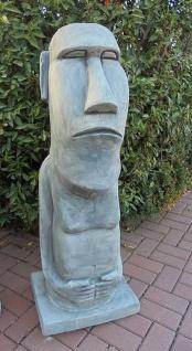 BAD-10213 Moai Skulptur massive Osterinsel Figur Rapa Nui Steinfigur zur Garterndekoration 116cm 182kg Beton Steinguss