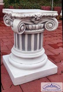 44 cm Steinguss Figurensockel Säule Statue Gartendeko Sockel im Kapitell-Stil