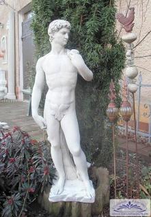 BAD-KP0208 Gartenfigur kleine David Skulptur mit Feigenblatt als Gartdendeko Steinfigur Beton Steinguss Figur 83cm 25kg