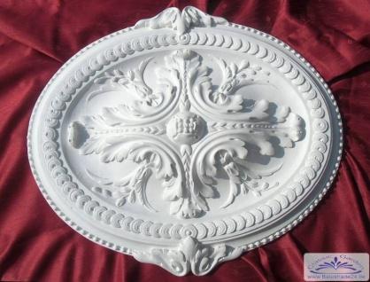 R-52 Gips Rosette ovale Form mit Akanthusblatt als Gipsstuck Deckenrosetten Zierlement 58cm