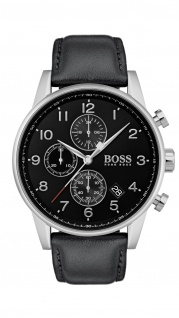 Hugo Boss Herren Uhr Navigator Leder schwarz, 1513678