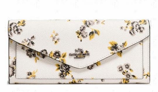 Coach Portemonnaie groß, Weiß mit Blumen 59512