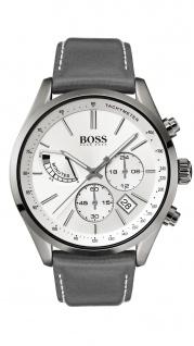 Hugo Boss Herren Uhr Grand Prix Leder grau, 1513633
