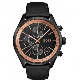 Hugo Boss Herren Uhr Chronograph Leder schwarz, 1513550