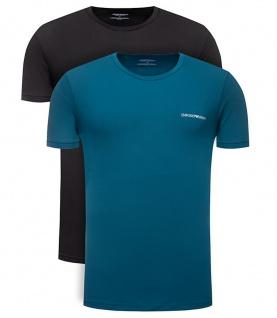 Emporio Armani 2er Set Basic Stretch T-Shirt, Türkis / Schwarz 111267