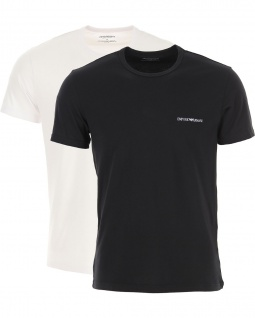 Emporio Armani 2er Set Basic Stretch T-Shirt, Weiß / Schwarz 111267