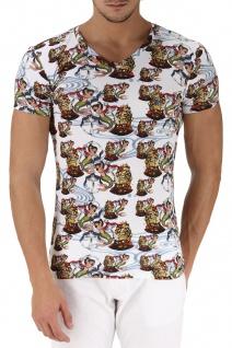 Emporio Armani V-Neck T-Shirt, Seemannsprint Weiß 110810 Größe L
