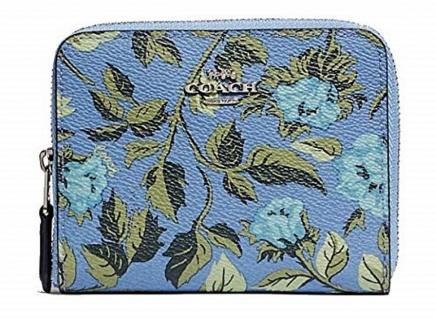 Coach Portemonnaie klein mit Blumen, Blau 66635
