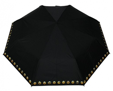 Happy Rain Taschenschirm schwarz mit emoticons, 42086A