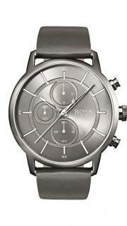 Hugo Boss Herren Uhr Architectural Leder grau, 1513570