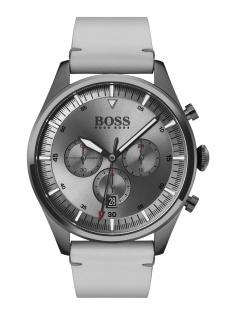 Hugo Boss Herren Uhr Pioneer Leder Grau, 1513710