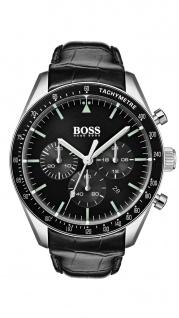 Hugo Boss Herren Uhr Trophy Leder schwarz, 1513625
