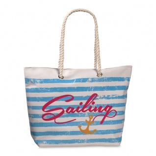 Fabrizio Shopper / Strandtasche Sailing, weiß / hellblau - Vorschau