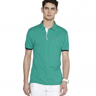 Lacoste Herren Slim-Fit-Polo Arbuste/blanc-marine (grün) Größe 4