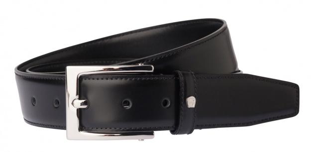 Aigner Gürtel Basic, S-Schließe silber 126446 schwarz, Überlänge 120 - 140 cm