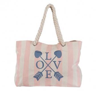 Achilleas Shopper / Strandtasche Love, weiß / rosé - Vorschau