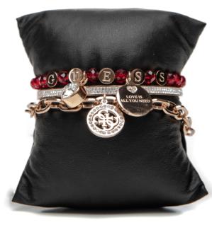 Guess Set mit drei Armbänder Rosé/Rot, 80085