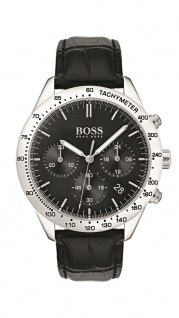 Hugo Boss Herren Uhr Talent Leder schwarz, 1513579
