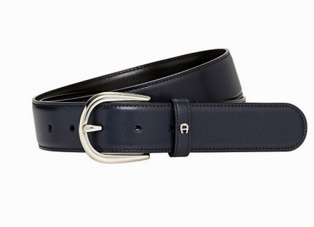 Aigner Gürtel Basic mit S-Schließe silber 126371 blau