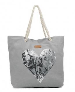 Codello Shopper / Strandtasche Heart Sequins, Grau 91041602