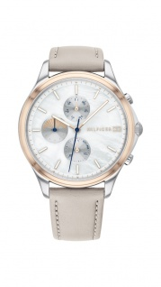Tommy Hilfiger Damen Uhr Whitney- Casual Leder Grau, 1782118