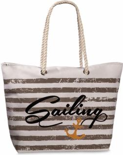 Fabrizio Shopper / Strandtasche Sailing, weiß / braun - Vorschau
