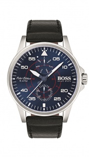 Hugo Boss Herren Uhr Aviator Leder schwarz, 1513515