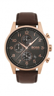Hugo Boss Herren Uhr Navigator Leder braun, 1513496