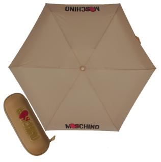 """Moschino Taschenschirm """" Heart Logo"""" Supermini Automatik, Beige"""