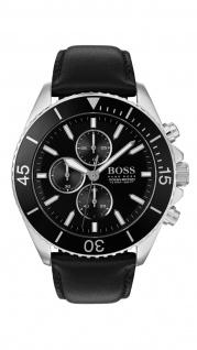 Hugo Boss Herren Uhr Ocean Edition Chrono - Athleisurel Leder Schwarz, 1513697