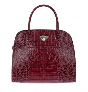 Maison Mollerus Leather Croco Wine Handtasche, Yens Gold