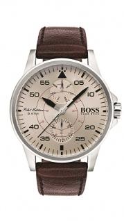 Hugo Boss Herren Uhr Aviator Leder dunkelbraun, 1513516