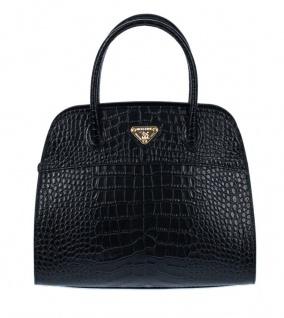 Maison Mollerus Leather Croco Black Handtasche, Yens Gold