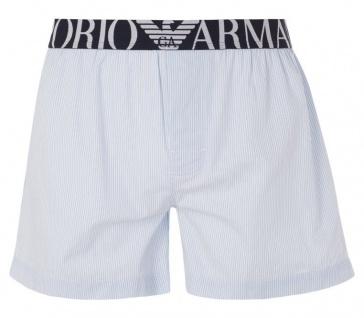 Emporio Armani Woven Cotton Boxer Short, weiss/hellblau Größe XL