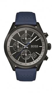 Hugo Boss Herren Uhr Grand Prix Leder blau, 1513563