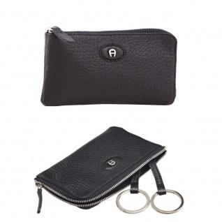 Aigner Schlüsseletui mit RV 153538, schwarz.