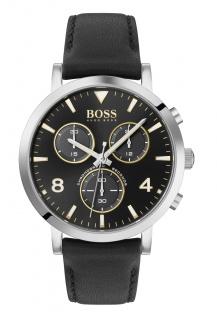 Hugo Boss Herren Uhr Spirit Leder Schwarz, 1513766