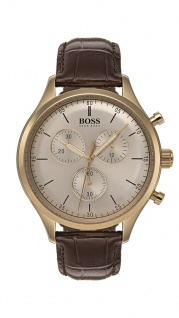 Hugo Boss Herren Uhr Companion Leder braun, 1513545