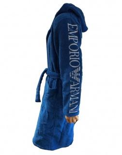 Emporio Armani Bademantel mit Kapuze und Tasche blau, 110799 - Vorschau 2