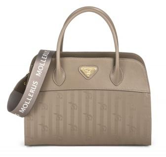 Maison Mollerus Vinerus Taupe Handtasche, Yvorne Gold