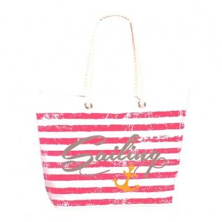 Fabrizio Shopper / Strandtasche Sailing, weiß / rosa